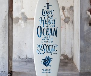 ocean, surf, and heart image