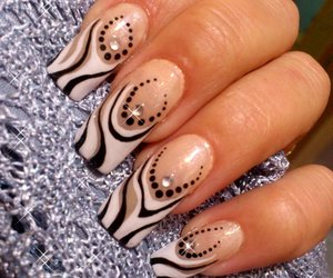 in love, nail art, and black and white nails image