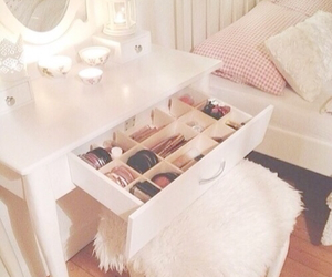 room, makeup, and bedroom image