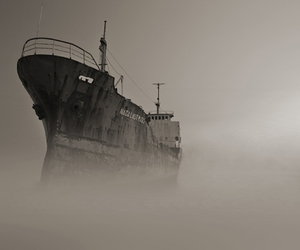 fog, ghost ship, and photography image