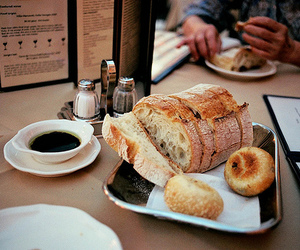 food, bread, and coffee image