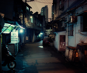 alleyway, china, and night image