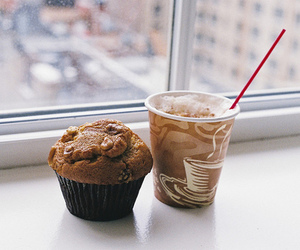 food, coffee, and muffin image