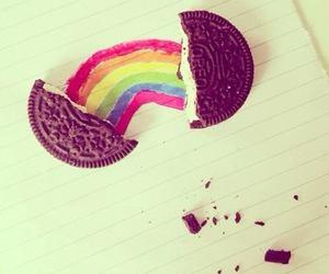 oreo, rainbow, and cookie image