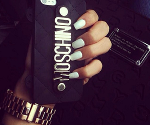 nails, Moschino, and black image