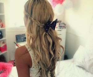 bow, hairstyle, and long image