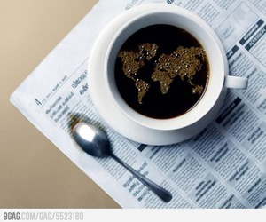 coffee, world, and newspaper image