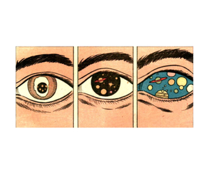 eyes, galaxy, and planet image