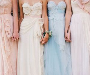 bridesmaids, dresses, and pastels image