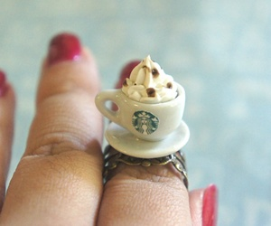 starbucks, ring, and coffee image