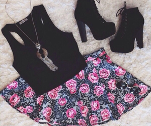 dress, floral print, and summer image