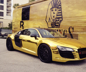 gold, car, and audi image