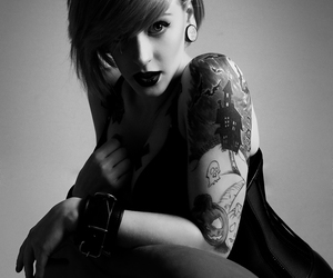 black and white, girl, and tatto image