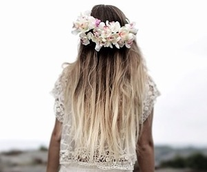 flowercrown, beauty, and ombrehair image