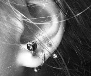 blackandwhite, ear, and earrings image