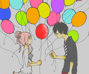 love, anime, and balloons image