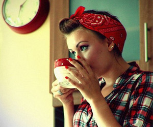 girl, red, and vintage image