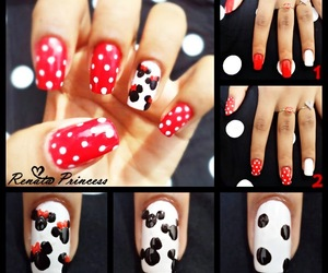 minnie, nails, and red image
