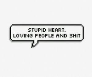 heart, stupid, and shit image