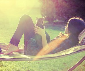 girl, cat, and sun image