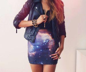 fashion, girl, and galaxy image