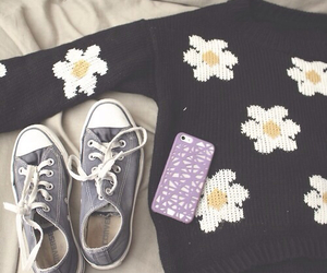 converse, flowers, and sweater image