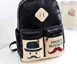 backpack, mustache, and two zipper bag image