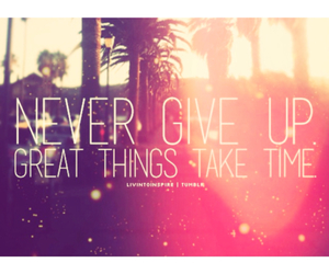 never give up, quote, and love image
