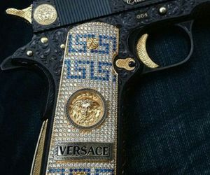 Versace, gold, and gun image