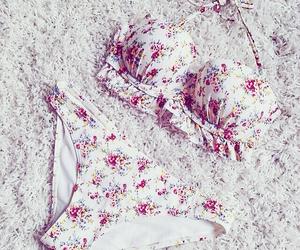 bikini, flower, and summer image