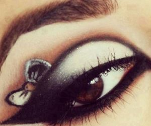 black, bow, and eyeshadow image