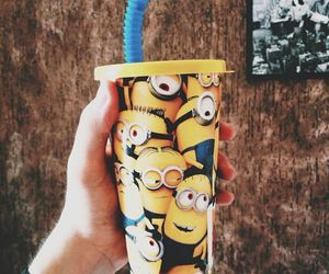 minions, cup, and yellow image