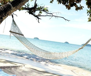 beach, blue, and hammock image