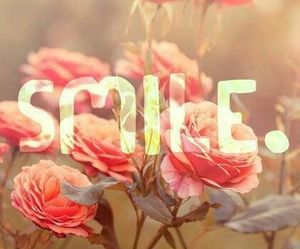 smile, flowers, and pink image