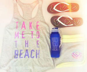 beach, sandals, and water bottle image