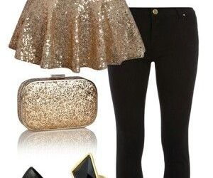 outfit, fashion, and gold image