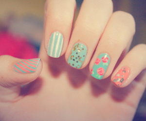 nails, flowers, and pink image