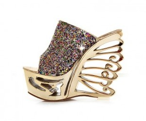 fashion, golden, and high heels image