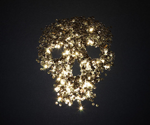 skull, gold, and sequins image