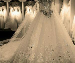 dress, weddings, and white image