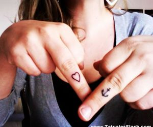 finger, heart, and girly image