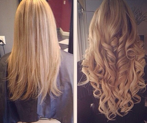 blonde, curly hair, and extensions image
