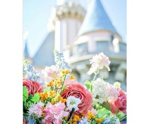 castle, disney, and flowers image