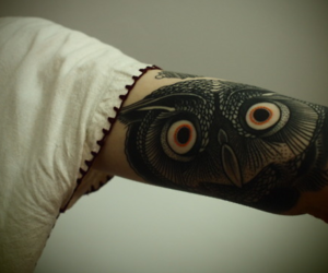 tattoo, owl, and arm image