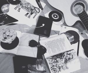 books, guitar, and music image