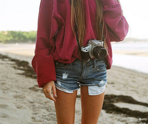 girl, camera, and beach image