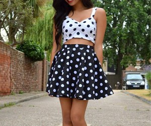 outfit, dots, and fashion image