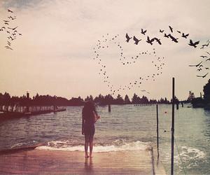 girl, bird, and heart image