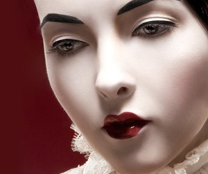 make up, doll, and red lips image
