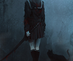 anime, dark, and cat image